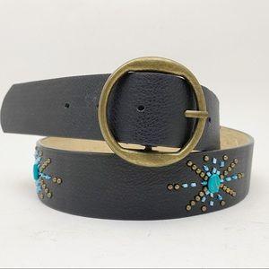 🌷Beaded Studded Turquoise Starburst Black Belt